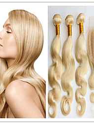 4pcs / lot péruvien vague de corps blond # 613 cheveux de trame avec fermeture top en dentelle 100% cheveux vierges humain tisse pas de