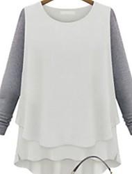 Ronde hals - Polyester - Met ruches - Vrouwen - T-shirt - Lange mouw