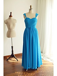 Floor-length Chiffon Bridesmaid Dress A-line Straps with Criss Cross