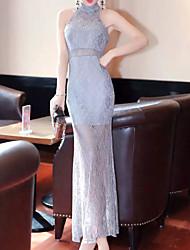 Women's Casual / Day Patchwork Sheath Dress , Halter Maxi Cotton