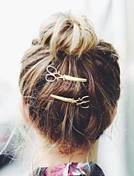 Women Fashion Simple Alloy Scissors Pattern Hairpin Hair Accessories Jewelry 1pc