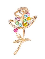 MISSING U  Diamonade  Gold Plated Gemstone & Crystal Zirconia Flower Colorful Brooch