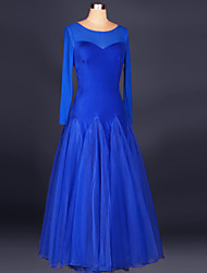 Ballroom Dance Dresses Women's Performance Spandex Draped 1 Piece Royal Blue Modern Dance Dress