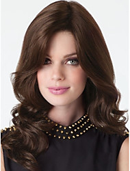 Factory Price  Women Lady Brown Color Medium Syntheic Wave  Wig