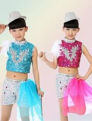 Jazz Outfits Kinderen Prestatie Lovertjes Pailletten 2-delig Blauw / Fuchsia / Geel Jazz Mouwloos Shorts / Bovenkleding