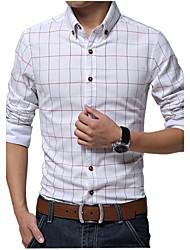 Men's Long Sleeve Shirt,Cotton / Linen Casual / Work / Formal / Plus Sizes Print / Striped / Plaids & Checks / Pure
