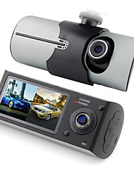 16G Memory Card+R300 Dual Lens Front Rear Car Camera Car dvrs Vehicle Dash Dashboard GPS logger Data Recorder X3000