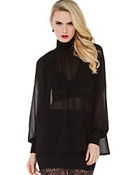 Women's Patchwork Black Blouse , Turtleneck Long Sleeve
