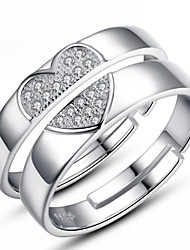 Men's Women's Couple's Couple Rings Costume Jewelry Sterling Silver Jewelry For Wedding Party Daily