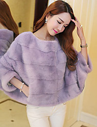 Enaco Women's Solid Color Pink / White / Black / Purple Coats & Jackets , Sexy / Casual / Work Cape Long Sleeve