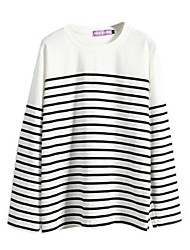 Women's Striped Blue / Beige Blouse , Round Neck Long Sleeve