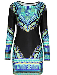 Women's Boho Fashion National Print Round Long Sleeve Slim Dress