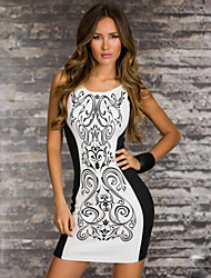 Women's Hot Sale Color Block Print Vintage Slim Sexy Party Round Neck Sleeveless Dress