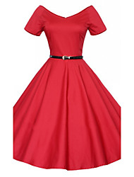 MAKE  Women's Solid Color Blue / Red / Black Dresses , Sexy / Casual / Party Round Short Sleeve