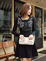 Dabuwawa Women's Lace Black Dress , Sexy  Round Neck Long Sleeve