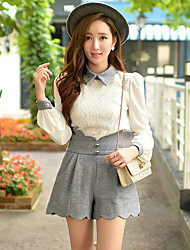 Women's Lace White Blouse , Shirt Collar Long Sleeve