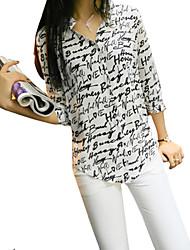 Women's Letter Print White Shirt, Casual Shirt Collar ¾ Sleeve