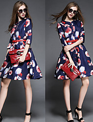 OuYa Women's Print Multi-color Dresses , Casual / Party Round ¾ Sleeve