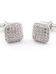 Square Crystal Silver Men's Cuff Links Mens Wedding Party Gift Cufflinks