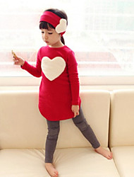 Girl's Red Clothing Set Rayon Spring / Fall