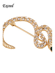 d exceder as mulheres jóias broches em forma de serpente presente original strass branco plissado ouro