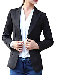 Women's Spring Blazer,Solid Long Sleeve White / Black Cotton / Others Medium