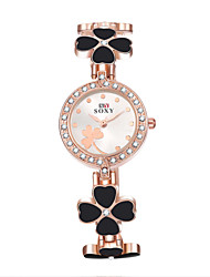 Women's Fashion Exquisite Lovely Diamante Flower Round Dial Alloy Band Quartz Analog Wrist Watch(Assorted Color)