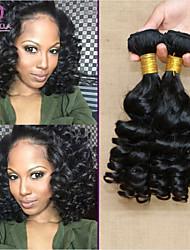 """4pcs / lot 8 """"-30"""" 7a brasilianische reine remy Haarverlängerungen # 1b (natürliche Farbe) brazilian princess Romanze lockiges Haar mtbw51"""