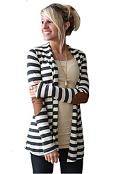 Women's Striped Black Cardigan,Casual / Day Long Sleeve