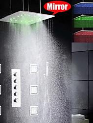 Смеситель для душа - Современный - Светодиодная лампа / Дождевая лейка / Ручная лейка / Ручная лейка входит в комплект - Латунь (Хром)