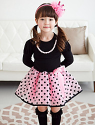 Girl's Polka Dot Plaid Dress,Cotton Spring Fall Long Sleeve