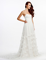 A-line Wedding Dress Cathedral Train Strapless Chiffon with Criss-Cross