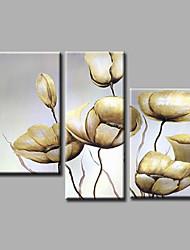 """bereit, gestreckten handgemalte Ölgemälde 44 """"x32"""" drei Panels Segeltuchwandkunst beige Blumen Mohn hängen"""