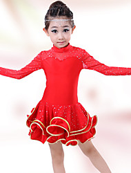 Girl's Fashion Qiu Dong Long Latin Uniforms Edge Latin Dress
