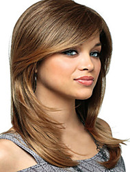 Women Capless Fashion Long Straight Mixed Honey Blonde Synthetic Wigs with Side Bang