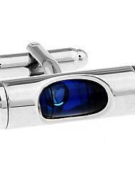 Blue cylindrical concave mercury level meter French shirt cufflinks cuff nail Christmas Gifts