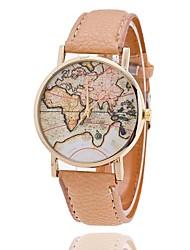 unisex relógio de estilo mapa do mundo / mapa do mundo do vintage / mapa do mundo da antiguidade / ver senhoras / mulheres falso prémio