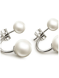 S925 Fine Silver White Pearl Ball Shape Stud Earrings (Width:8mm)