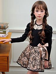 Robe Fille de Printemps / Automne Coton Rose / Beige
