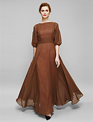 Sheath/Column Mother of the Bride Dress - Ankle-length Half Sleeve Chiffon