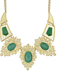Gold Plated Colored Imitation Gemstone Statement Collar Necklace