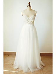 A-line Wedding Dress Floor-length V-neck Tulle with Appliques / Button / Sash / Ribbon