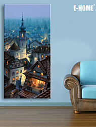 E-HOME® Stretched LED Canvas Print Art The Ancient City LED Flashing Optical Fiber Print One Pcs