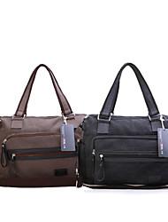Unisex - Umhängetasche / Beutel / Laptop Tasche - Leinwand - Kuriertasche - Braun / Schwarz