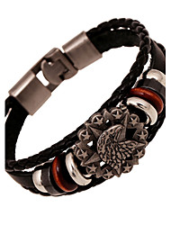 American Indian Eagle Skeleton Tag Triple Layer Leather Bracelets