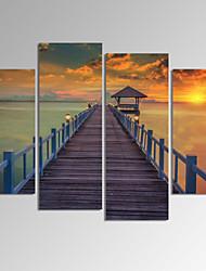 VISUAL STAR®4 Panel Seascape Canvas Print Framed Sunrise Landscape Canvas Art Ready to Hang