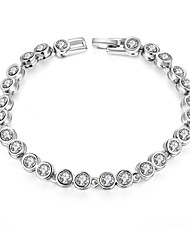 Fashion Simple Women's Rhinestone Platinum Plated Tin Alloy Chain & Link Bracelet(White)(1Pair)