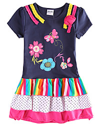 Girl's Summer Short Sleeve Kids Clothes Children Dresses(Random Printed)