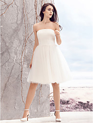 Lanting Bride A-line Wedding Dress-Knee-length Strapless Tulle
