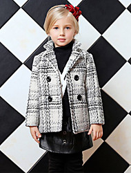 Girl's Gray Jacket & Coat,Check Polyester Winter